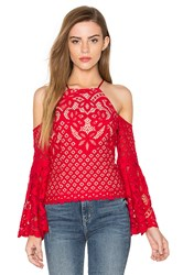 Bardot Mila Lace Top Red