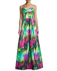 Milly Strapless Sweetheart Neck Printed Gown Emerald Green