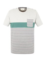 Racing Green Sanchez Stripe And Pocket T Shirt Grey Marl