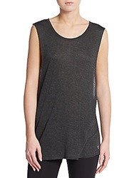 Betsey Johnson Performance Fly With Me Muscle Tank Top Charcoal Grey