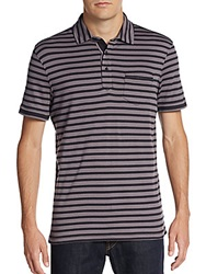 Saks Fifth Avenue Black Striped Pima Cotton Polo Black Torn
