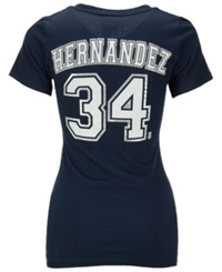 5Th And Ocean Women's Felix Hernandez Seattle Mariners Player T Shirt Navy