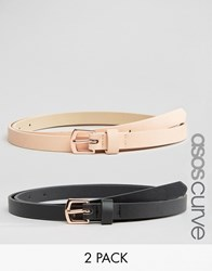 Asos Curve 2 Pack Rose Gold Buckle Waist And Hip Belts Multi