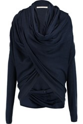 Alice Olivia Draped Wool And Cashmere Blend Wrap Cardigan Midnight Blue