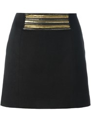Balmain Pierre Metallic Applique Skirt Black
