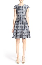 Armani Collezioni Check Print Linen And Cotton Blend Fit And Flare Dress Astral Blue Multi