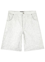 Blood Brother Decay White Distressed Leather Shorts
