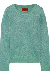 Missoni Metallic Crochet Knit Sweater Turquoise