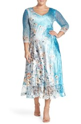 Plus Size Women's Komarov V Neck Floral Charmeuse A Line Dress
