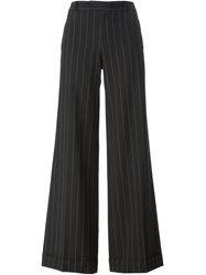 Jean Paul Gaultier Vintage Pinstripe Flared Trousers Black