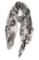 Nordstrom Women's 'Antique Damask' Print Scarf Grey Combo