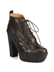 Polo Ralph Lauren Hester Leather Ankle Boots Dark Brown