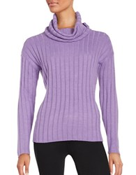 Lord And Taylor Merino Wool Ribbed Turtleneck Sweater Freesia Heather