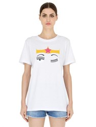 Chiara Ferragni Flirting Cotton Jersey T Shirt