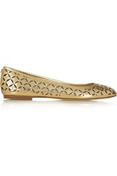 Michael Michael Kors Gabriella Metallic Perforated Leather Ballet Flats