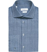 Richard James Contemporary Fit Cotton Tweed Shirt Blue