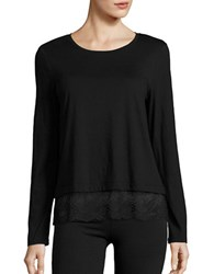 Lord And Taylor Petite Lace Hem Tee Black