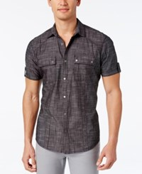 Inc International Concepts Men's Helix Short Sleeve Shirt Only At Macy's Deep Black