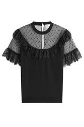 Red Valentino Knit Top With Point Desprit And Lace Black