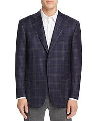 Canali Siena Plaid Classic Fit Sport Coat Navy