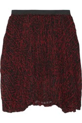 Enza Costa Printed Crinkled Chiffon Skirt Red