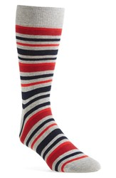 Lorenzo Uomo Men's 'Alternating Stripe' Socks Heather Grey Red Blue