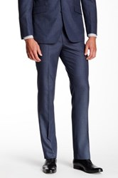 Kenneth Cole Reaction Woven Sharkskin Two Button Notch Lapel Suit Blue