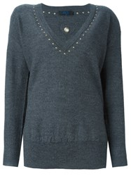 Twin Set V Neck Sweater Grey