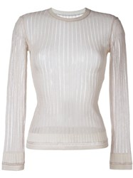 Alaa A Vintage Sheer Ribbed Jumper Nude And Neutrals
