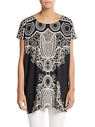 Saks Fifth Avenue Blue Printed Jersey Tunic Black