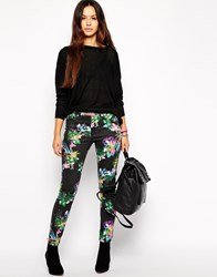 Insight Floral Skinny Jeans Black