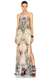 Camilla Sheer Overlay Dress In Green Gray Abstract Floral