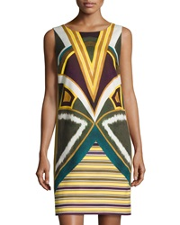 Lafayette 148 New York Sleeveless Geometric Print Shift Dress Ficus Multi
