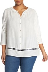 Lucky Brand Embroidered Inset Peasant Blouse Plus Size White