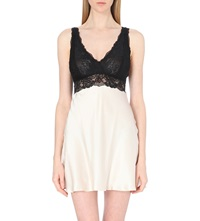 Nk Imode Silk Satin And Lace Chemise Champagne Black Lace