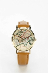 Urban Outfitters Around The World Leather Watch Light Brown
