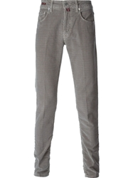 Pt05 Houndstooth Print Skinny Trousers Grey