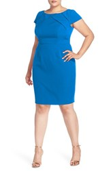 Adrianna Papell Plus Size Women's Origami Yoke Cap Sleeve Sheath Dress