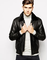 Reiss Leather Aviator Jacket Black