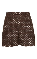 Blumarine Eyelet High Waisted Shorts Brown