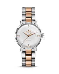 Rado Coupole Classic Automatic Stainless Steel And Rose Gold Ceramos Watch With Diamonds 32Mm