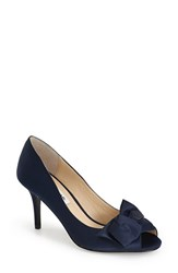 Women's Nina 'Fraser' Satin Peep Toe Pump Blue Satin