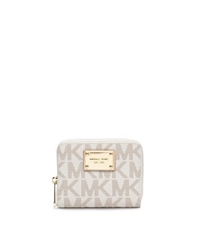 Michael Kors Jet Set Travel Logo Zip Around Wallet Vanilla