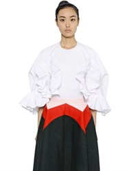 Delpozo Ruffled Cotton Poplin And Organza Shirt