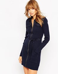 Asos Knit Shirt Dress With Woven Details And Zip Front Navy