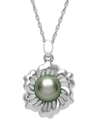 Macy's Sterling Silver Necklace Cultured Tahitian Pearl Flower Pendant