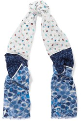 Marc By Marc Jacobs Printed Cotton Gauze Scarf Blue