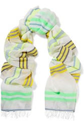 Lemlem Tinish Neon Cotton Blend Gauze Scarf Yellow