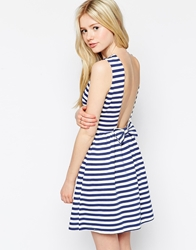 Max C London Max C Stripe Dress With Low Back Navy