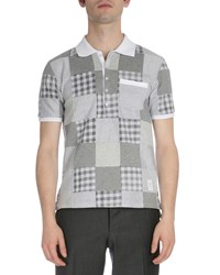 Thom Browne Patchwork Short Sleeve Jersey Polo Shirt Gray Men's